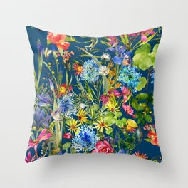 Watercolor flower garden with hummingbird Throw Pillow