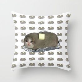 Crying Cat Baked Potato With Butter Throw Pillow