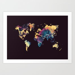 world map 79 yellow black Art Print