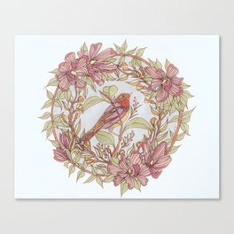 Magnolia And Marigold Wreath With Songbird Canvas Print