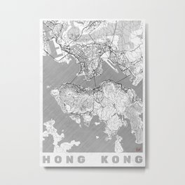 Hong Kong Map Line Metal Print