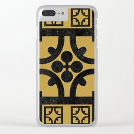 Traditional Yellow English Tudor Half-timbered House Pattern Clear iPhone Case