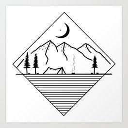 Moon and mountains Art Print