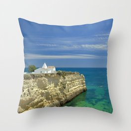 Chapel on the cliffs, Portugal Throw Pillow
