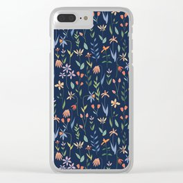 Wildflowers in the Air Navy Clear iPhone Case