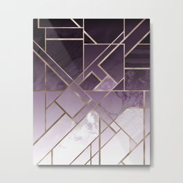 Purple geometric marble pattern Metal Print