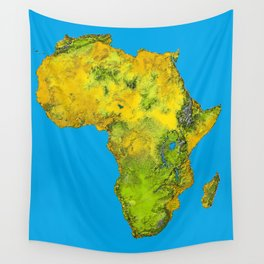 African Continent Topographical Relief Map Wall Tapestry