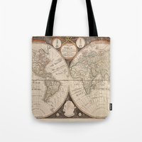 world map Tote Bags featuring World Map by Le petit Archiviste