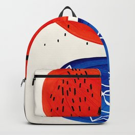 Mid Century Modern abstract Minimalist Fun Colorful Shapes Patterns Orange Blue Bubbles Organic Backpack