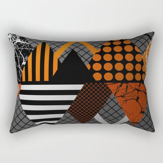 Industrial Geometry - Metallic, geometric, bronze, silver and gold, textured, patterned artwork Rectangular Pillow