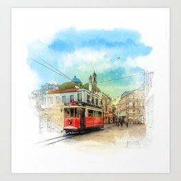 Old tram in Istanbul Art Print