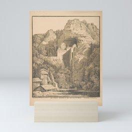 Das Schloss Prediama in Crein XII Stund  von Triest,1816 Mini Art Print