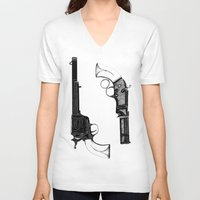 guns V-neck T-shirts featuring Two Guns by Broenner