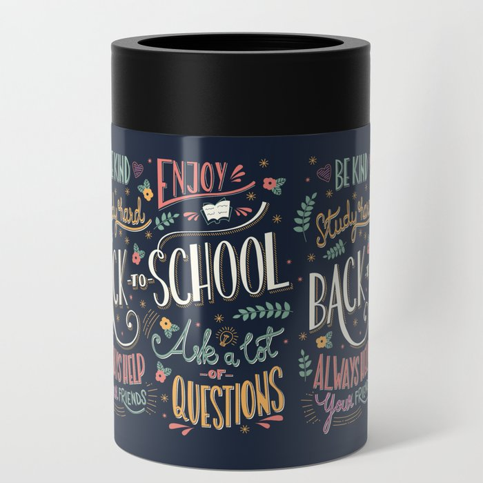 Back to school colorful typography drawing on blackboard with motivational messages, hand lettering Can Cooler