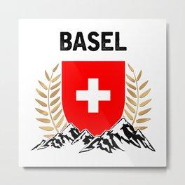 Basel Swiss Flag TShirt Swiss Alps Shirt Switzerland Gift Idea  Metal Print
