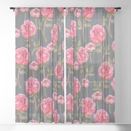 Pink Peonies On Grey Background Sheer Curtain