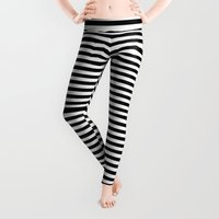 minimalism Leggings featuring Horizontal Stripes (Black/White) by 10813 Apparel