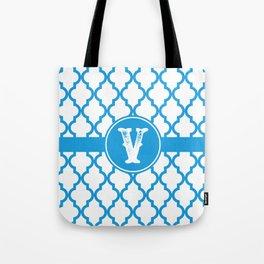 Blue Monogram: Letter V Tote Bag