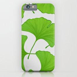 Green Ginkgo Leaf Pattern iPhone Case