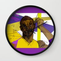 kobe Wall Clocks featuring Kobe Bryant: SO CHILL by Maddison Bond