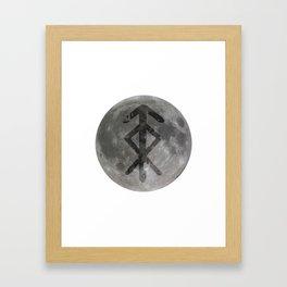 Viking bind rune 'Protection' on moon. Framed Art Print