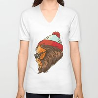 sasquatch V-neck T-shirts featuring Waldo Sasquatch  by Thomcat23