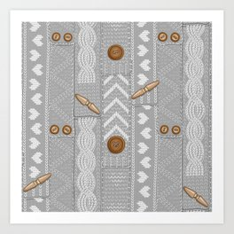 Scarves Knitted Buttoned - Gray Art Print