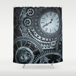Silver Steampunk Clockwork Shower Curtain