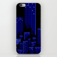 cityscape iPhone & iPod Skins featuring Cityscape by Something Funny Is Happening