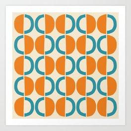 Mid Century Modern Half Circle Pattern 528 Beige Orange and Turquoise Art Print