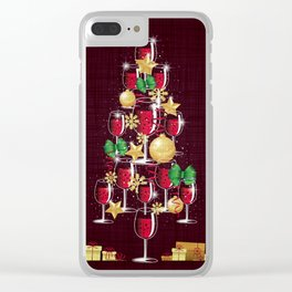 Happy Red Wine Tree Clear iPhone Case