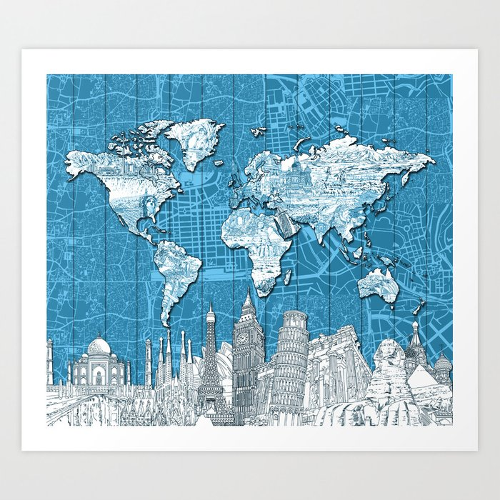 World map city skyline 10 art print by bekimart society6 world map city skyline 10 art print gumiabroncs Image collections