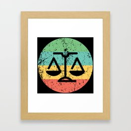 Lawyer Judge Retro Scale of Justice Framed Art Print