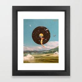 Black hole girl Framed Art Print