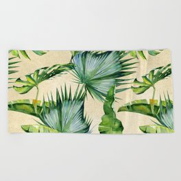 Green Tropics Leaves on Linen Beach Towel