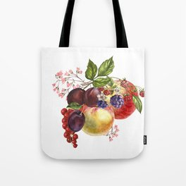 Composition of realistic fruits on a white background in vintage style. Apples, raspberries, plums, Tote Bag