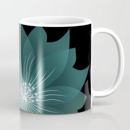 Blue flower on a black background . Coffee Mug