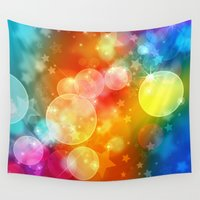 xmas Wall Tapestries featuring Colorful Xmas by Tom Lee