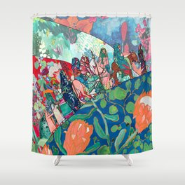Floral Migrant Quilt Shower Curtain
