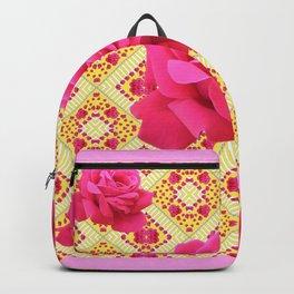 FUCHSIA PINK ROSES ON YELLOW GEOMETRIC PATTERN ART Backpack