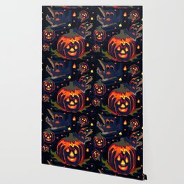 Spooky Night of Ghost and Jackolanterns by Lorloves Design Wallpaper