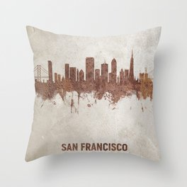 San Francisco California Rust Skyline Throw Pillow