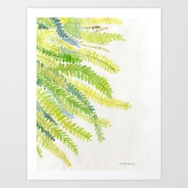 Fern Leaves Watercolor Art Print