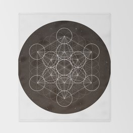 Metatrons Cube Is Out Of Space Throw Blanket