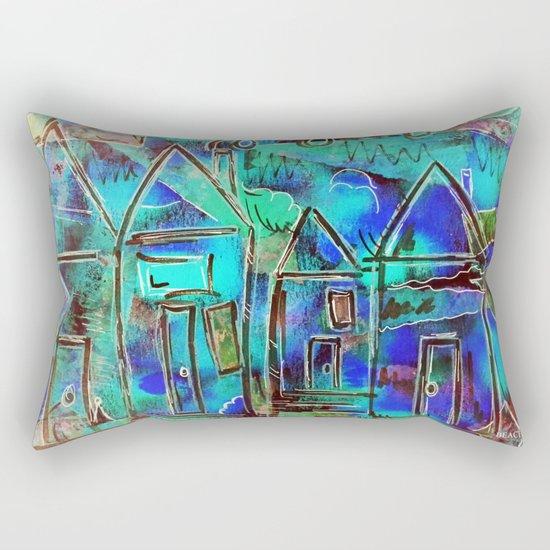 Neon Blue Houses Rectangular Pillow