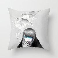 swan Throw Pillows featuring Swan Love by Ariana Perez