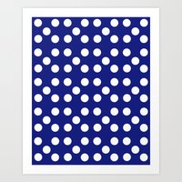 Dots - Blue / White Art Print