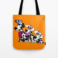puppies Tote Bags featuring Dalmatian Puppies by Chip Dar Juan