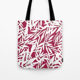 white leave in red background Tote Bag