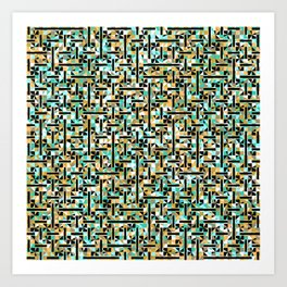 grid in brown and green with shapes Art Print